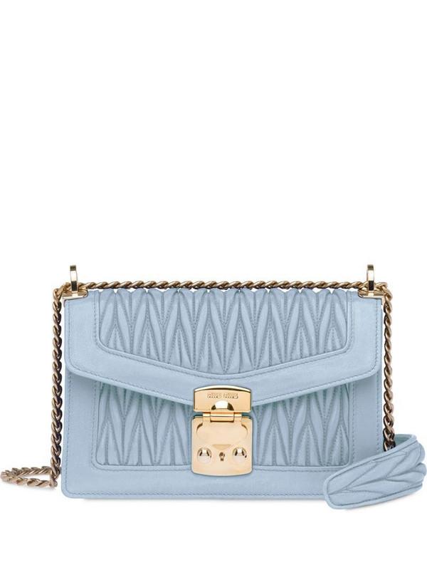 Miu Miu Miu Confidential matelassé shoulder bag in blue