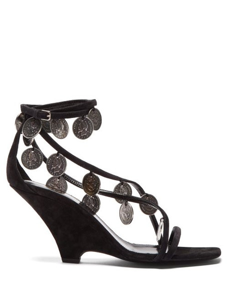 Saint Laurent - Kim Coin Embellished Suede Wedge Sandals - Womens - Black