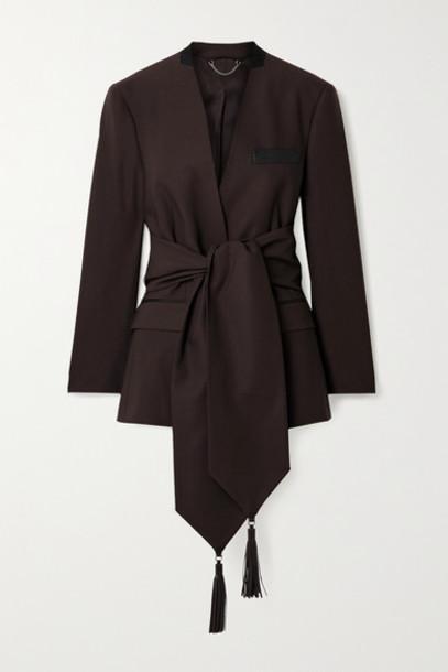 Salvatore Ferragamo - Leather And Grosgrain-trimmed Belted Wool-twill Blazer - Dark brown