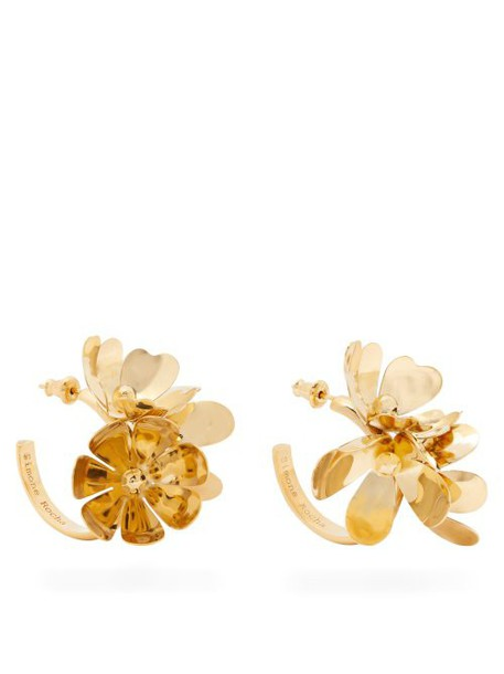 Simone Rocha - Ornate Flower Embellished Hoop Earrings - Womens - Gold