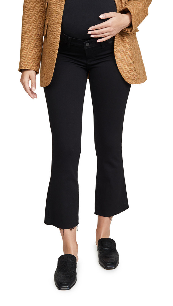 PAIGE Colette Maternity Crop Flare Jeans in black