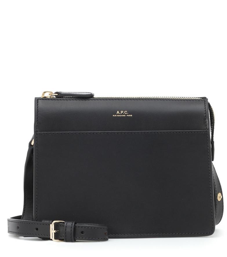 A.P.C. Ella Mini leather shoulder bag in black