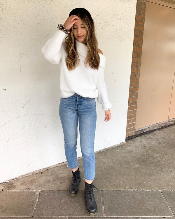 sweater white sweater h&m skinny jeans high waisted jeans black boots combat boots