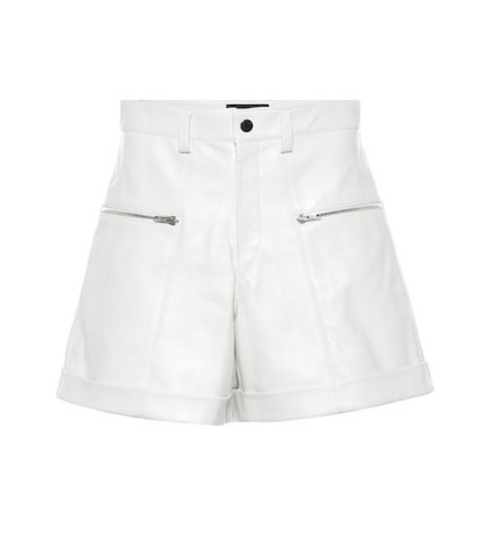 Isabel Marant Cedar high-rise leather shorts in white
