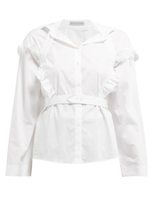 Palmer/harding Palmer//harding - Trap Ruffled Cotton Blend Shirt - Womens - White