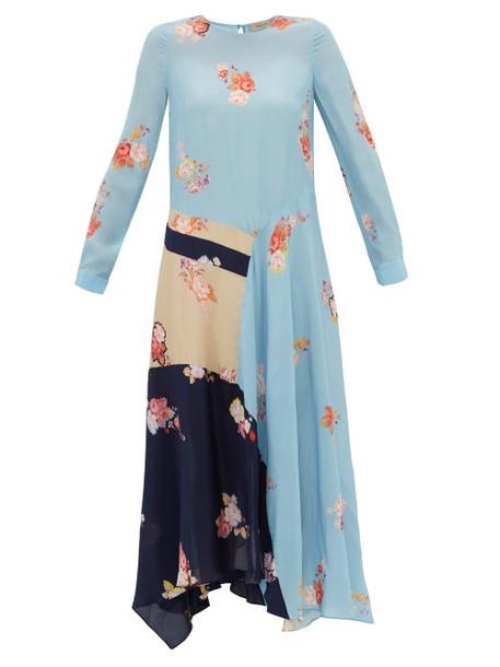 Preen Line - Selena Contrast Panel Floral Print Dress - Womens - Blue Multi