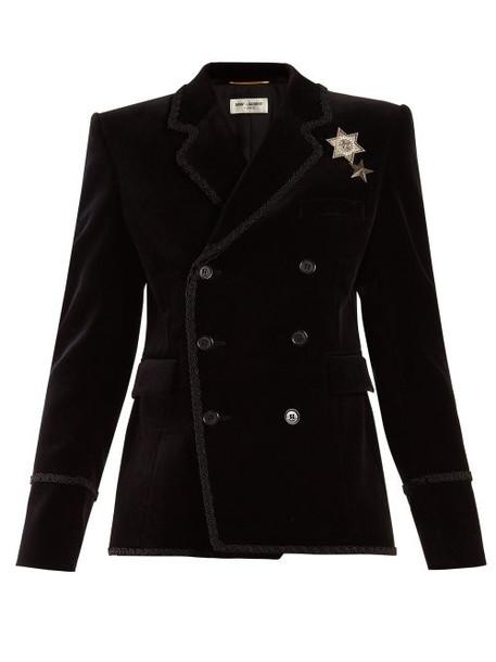 Saint Laurent - Double Breasted Velvet Blazer - Womens - Black