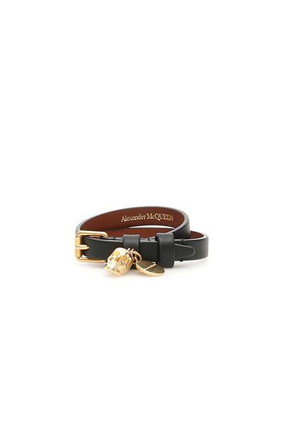 Alexander McQueen Thin Skull Bracelet in black