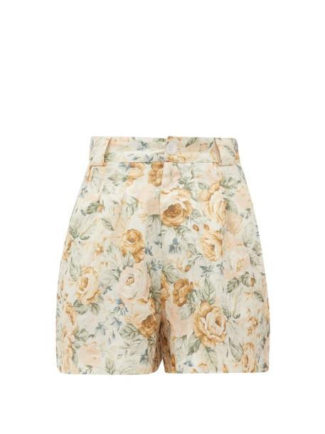 Ephemera - High-rise Floral-print Linen Shorts - Womens - Yellow Multi