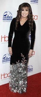 dress,marie osmond,silver floral,hollywood beauty awards,black dress