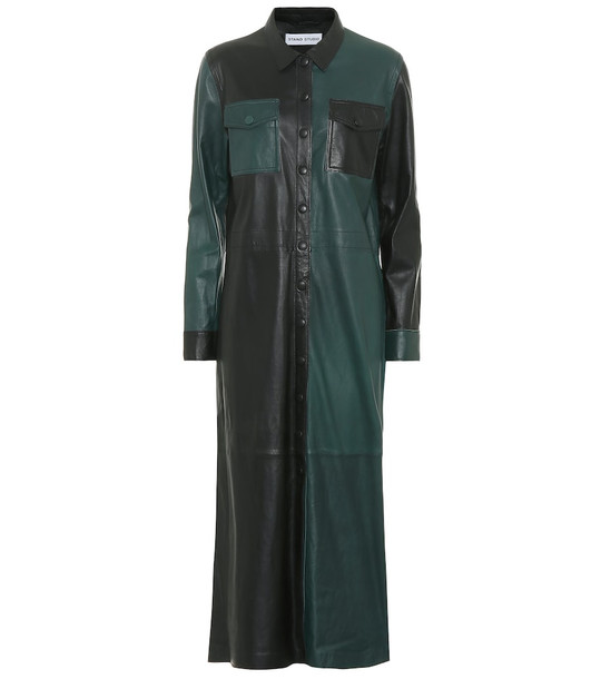 Stand Studio Alte leather midi dress in black