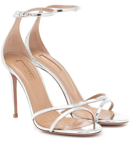 Aquazzura Purist 105 metallic leather sandals in silver