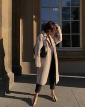 coat,wool coat,slingbacks,black pants,black bag,long coat,streetwear