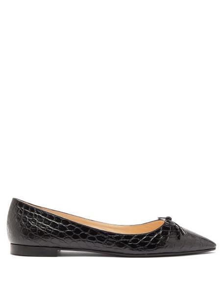 Prada - Bow Front Crocodile Effect Leather Ballet Flats - Womens - Black