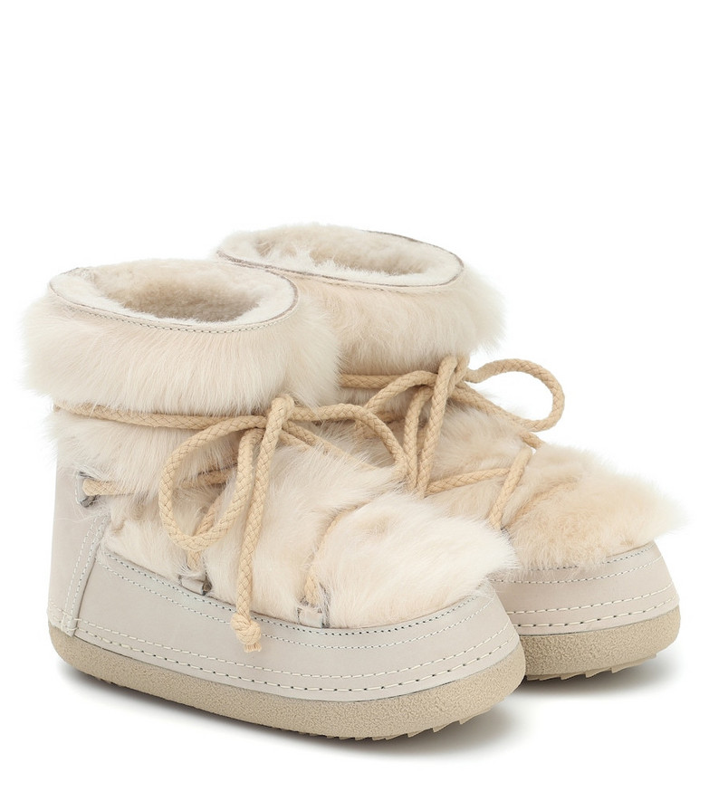 Inuikii Toskana shearling and suede boots in white