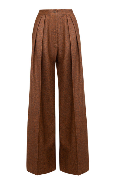 Lake Studio Mid-Rise Pleated Wool And Silk Blend Wide-Leg Pants in brown