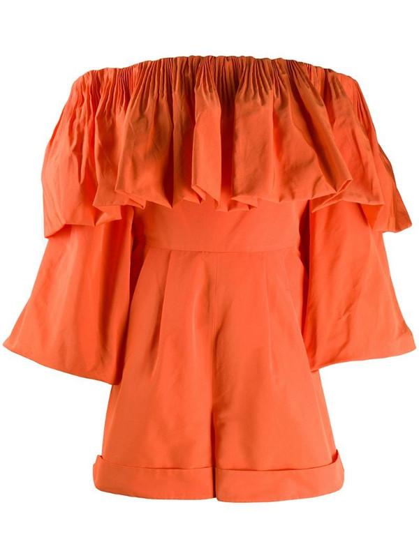 Valentino bow detail playsuit in orange