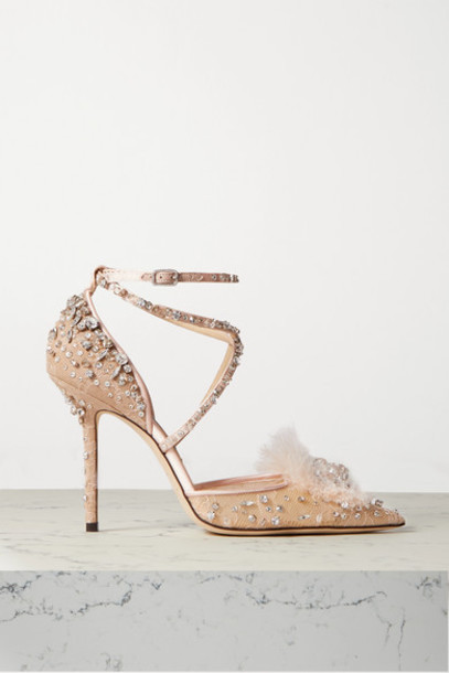 Jimmy Choo - Odette 100 Embellished Satin And Leather-trimmed Lace Pumps - Neutral
