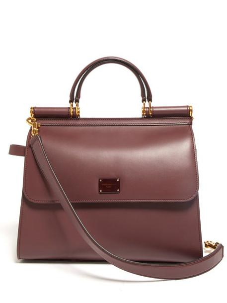 Dolce & Gabbana - Sicily Large Leather Bag - Womens - Burgundy Multi