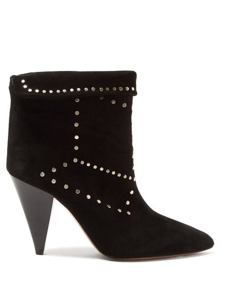 Isabel Marant - Lisbo Studded Suede Ankle Boots - Womens - Black