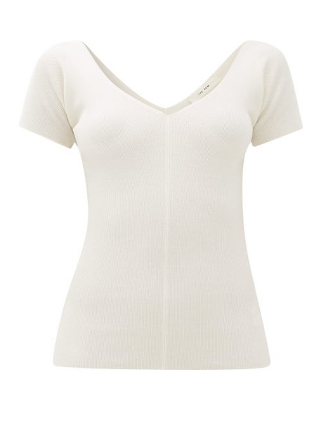 The Row - Tain Ribbed Wool-blend Top - Womens - Ivory