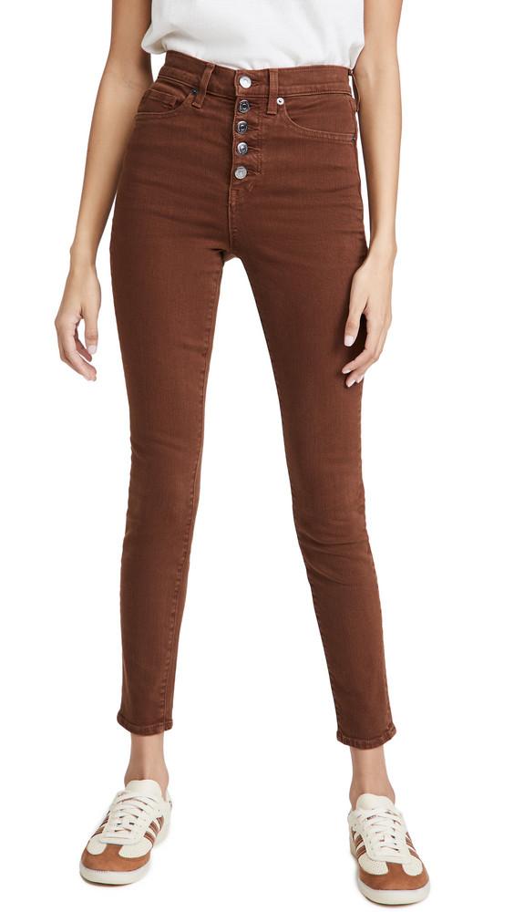 Veronica Beard Jean Maera Extra High Rise Skinny Jeans in brown / stone