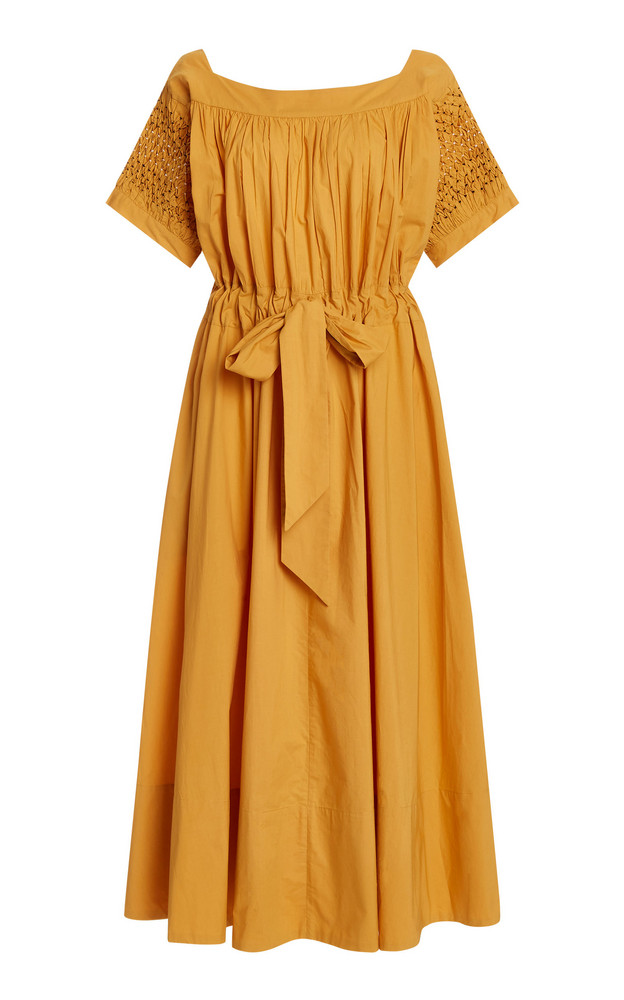 Thierry Colson Vera Belted Cotton Midi Dress in yellow