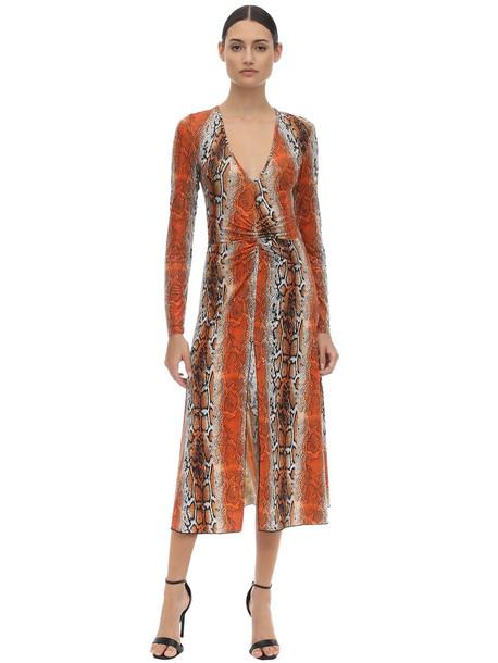 ROTATE Shiny Printed Stretch Jersey Midi Dress in orange