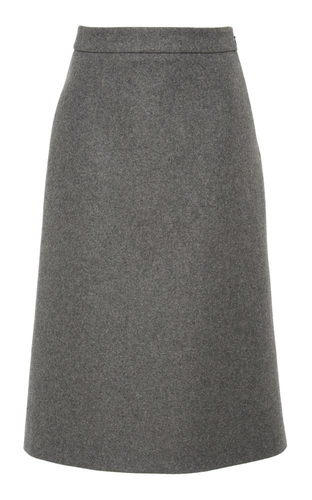 Prada Wool-Felt Midi Skirt Size: 36 in grey