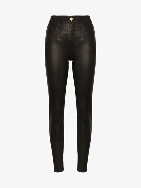 FRAME le sylvie high rise skinny leather trousers in black