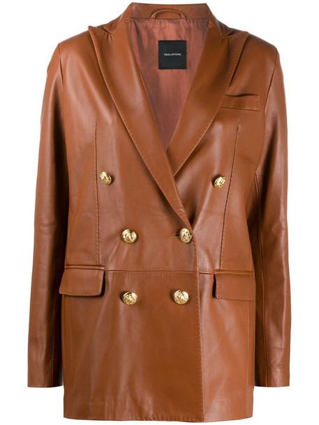 Tagliatore Josie leather coat in brown