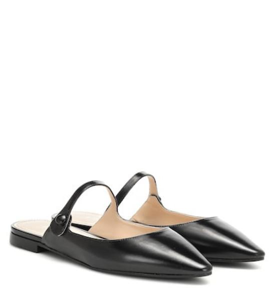 Prada Leather slippers in black