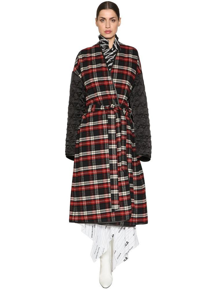 BALENCIAGA Plaid Flannel & Quilted Nylon Coat