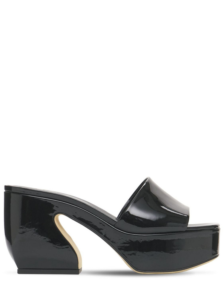SI ROSSI 85mm Platform Patent Leather Sandals in black