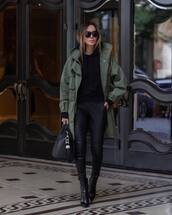 pants,leather pants,ankle boots,heel boots,black bag,army green,black hoodie,black sunglasses