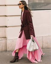 dress,pleated dress,pink dress,asymmetrical dress,heel boots,blazer,white bag