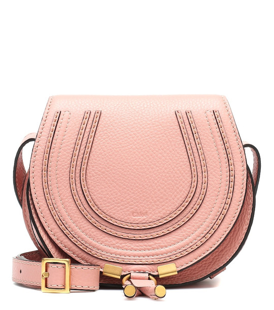 Chloé Marcie Mini leather shoulder bag in pink