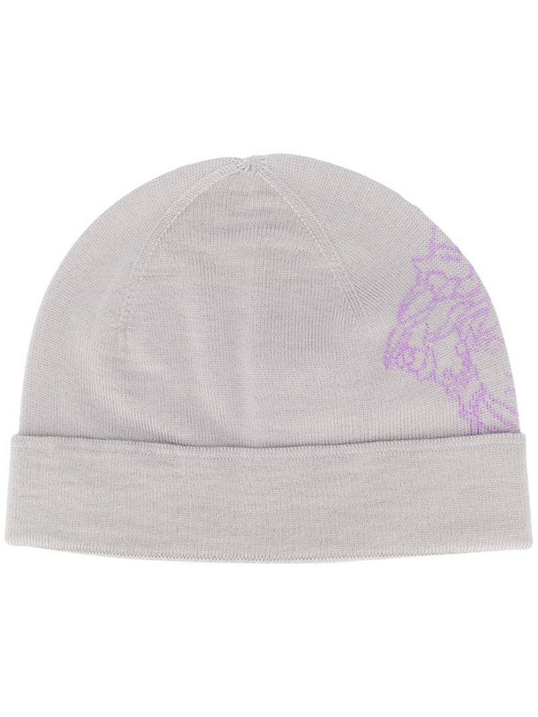 Versace Medusa knitted beanie in grey