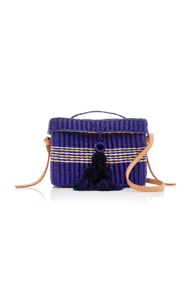 Nannacay M'O Exclusive Medium Roge Straw Tote With Pompoms and Strap in navy