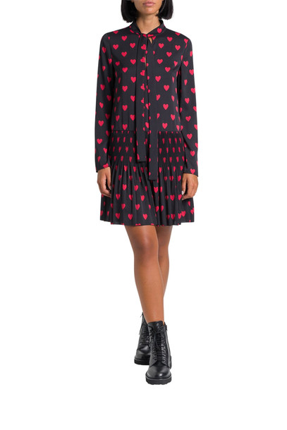 RED Valentino Hearts Printed Short Dress in nero