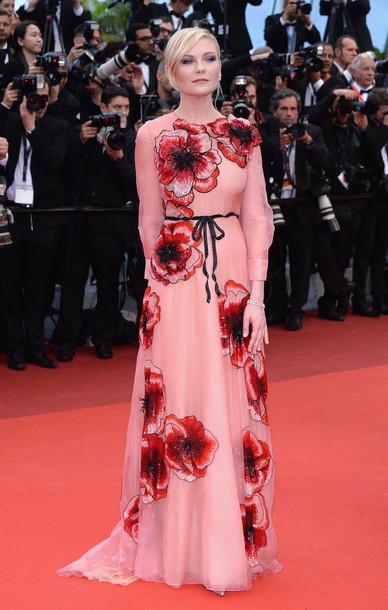 dress gown kirsten dunst red carpet dress prom dress cannes long dress