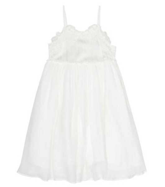 Stella McCartney Kids Silk-crêpe dress in white