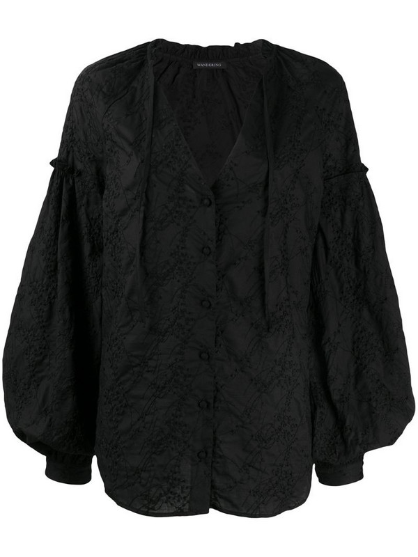 Wandering floral-embroidered balloon-sleeved blouse in black