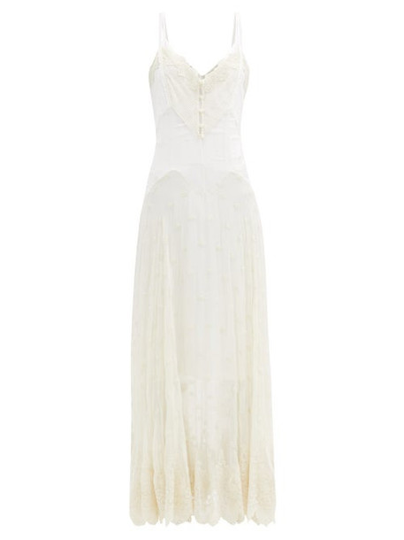 Paco Rabanne - Floral-embroidered Silk-chiffon Dress - Womens - Ivory