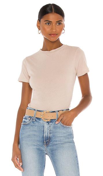 LNA Short Sleeve Fitted Bodysuit in Beige in white