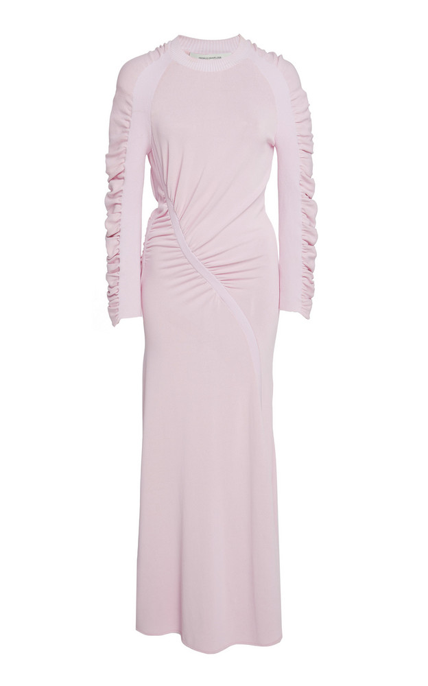 Cédric Charlier Ruched Knit Maxi Dress in pink