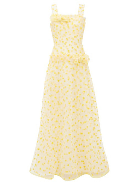 Rodarte - Flocked Heart Print Dropped Waist Tulle Maxi Dress - Womens - Yellow