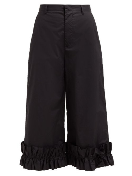 6 Moncler Noir Kei Ninomiya - High Rise Ruffled Cotton Culottes - Womens - Black