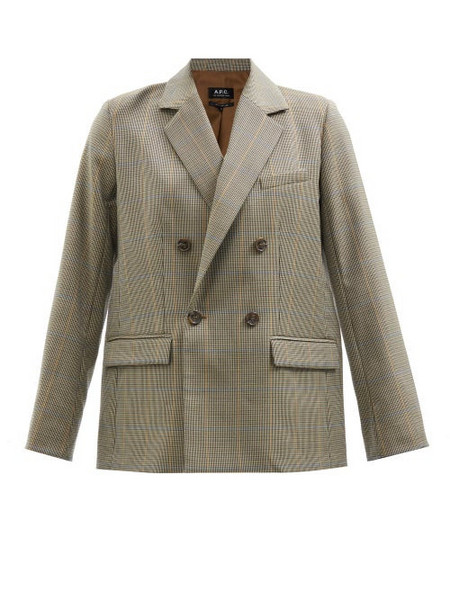 A.P.C. A.P.C. - Prune Double-breasted Houndstooth Wool Blazer - Womens - Beige Multi