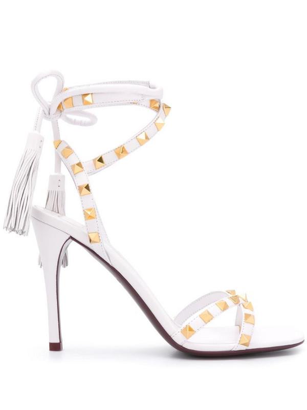 Valentino Garavani Rockstud tie-fastening sandals in white